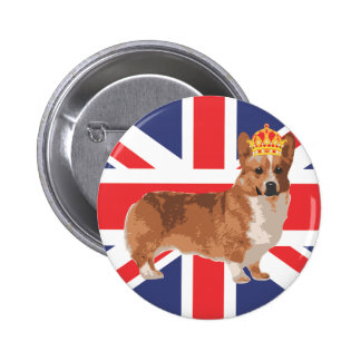The Queen's Corgi with Crown and Union Jack 2 Inch Round Button