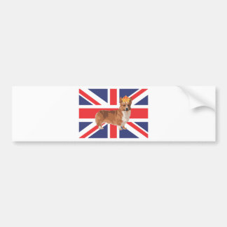 The Queen's Corgi with Crown and Union Jack Bumper Sticker