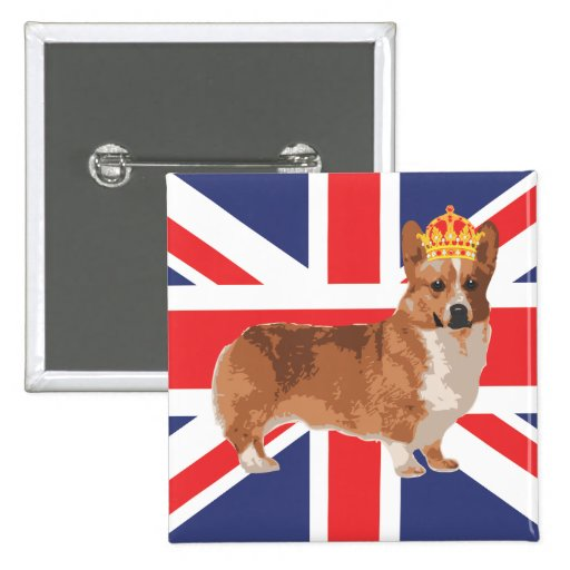 The Queen's Corgi with Crown and Union Jack Buttons