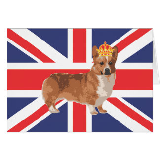 The Queen's Corgi with Crown and Union Jack Card
