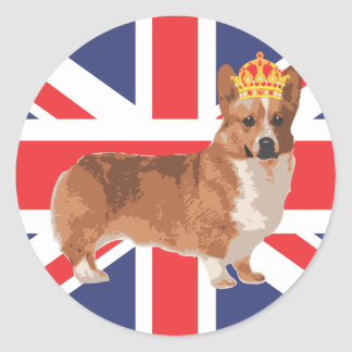 The Queen's Corgi with Crown and Union Jack Classic Round Sticker
