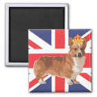 The Queen's Corgi with Crown and Union Jack Magnet