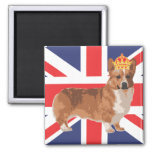 The Queen's Corgi with Crown and Union Jack Fridge Magnet