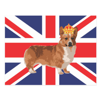 The Queen's Corgi with Crown and Union Jack Postcard