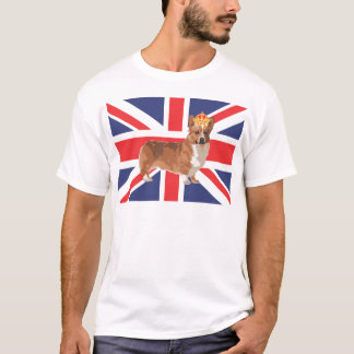 The Queen's Corgi with Crown and Union Jack T-Shirt
