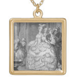 The Queen's Lady-in-Waiting, engraved by P.A. Mart Square Pendant Necklace