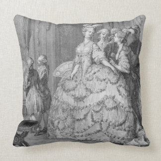 The Queen's Lady-in-Waiting, engraved by P.A. Mart Throw Pillows