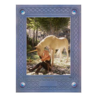 The Questing Beast    Unicorn and Guinevere Poster