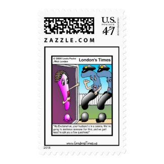 The Question Police Cartoon Real Postage Stamps