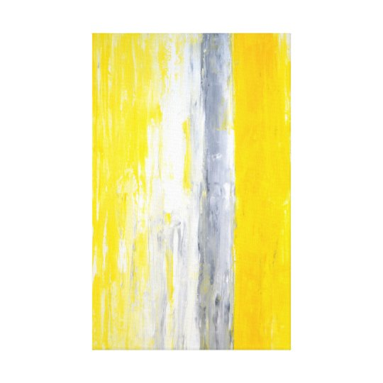'The Queue' Grey and Yellow Abstract Art Canvas Print