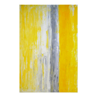 'The Queue' Grey and Yellow Abstract Art Poster