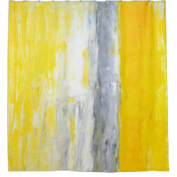 'The Queue' Grey and Yellow Abstract Art Shower Curtain