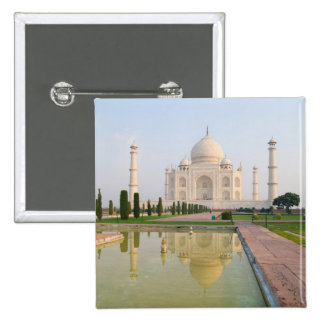 The quiet peaceful Taj Mahal at sunrise one of 2 Inch Square Button