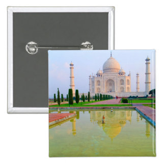 The quiet peaceful World Famous Taj Mahal at 2 Inch Square Button