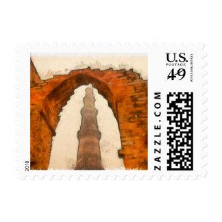 The Qutub Minar in Delhi Postage