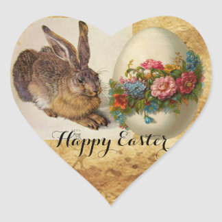 THE RABBIT ( Hare ) EASTER EGG AND FLOWERS Heart Heart Sticker