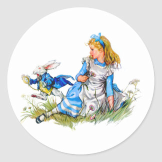 THE RABBIT IS LATE AS HE RUSHES BY ALICE CLASSIC ROUND STICKER