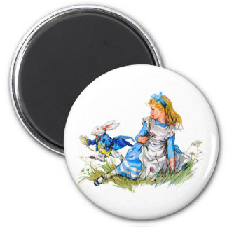 THE RABBIT IS LATE AS HE RUSHES BY ALICE REFRIGERATOR MAGNET