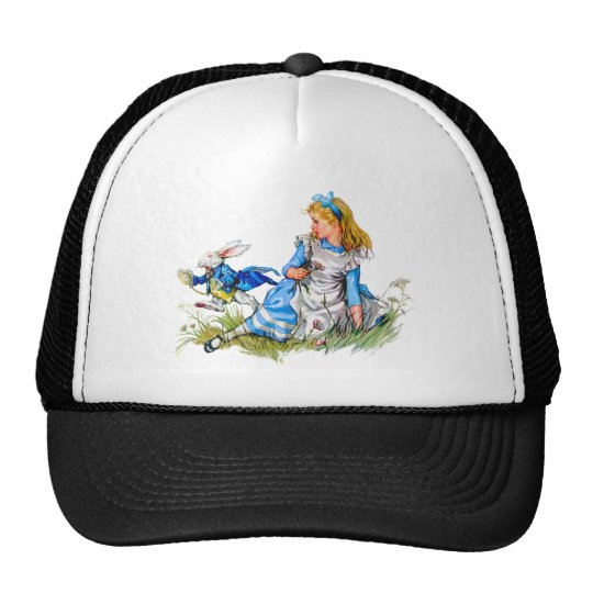 THE RABBIT IS LATE AS HE RUSHES BY ALICE TRUCKER HAT