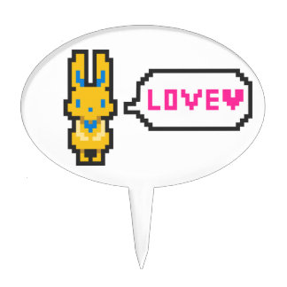 "The rabbit ""LOVE which had the dot picture wind Cake Topper"