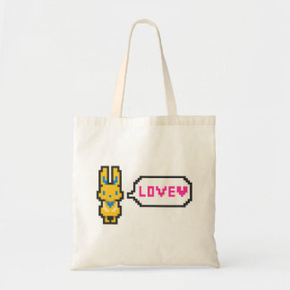 """The rabbit """"LOVE which had the dot picture wind he Budget Tote Bag"""