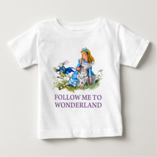 "The Rabbit Passes Alice ""Follow me To Wonderland"" Baby T-Shirt"