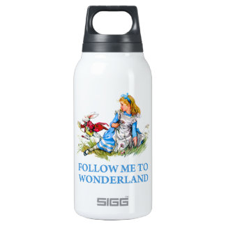 """The Rabbit tells Alice, """"Follow me to Wonderland"""" Insulated Water Bottle"""