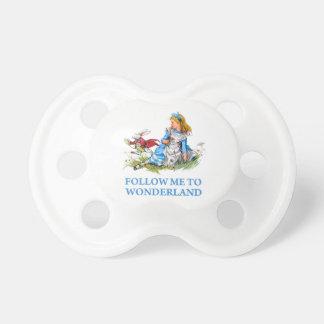 "The Rabbit tells Alice, ""Follow me to Wonderland"" Pacifier"