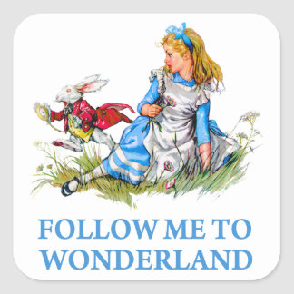 "The Rabbit tells Alice, ""Follow me to Wonderland"" Square Stickers"