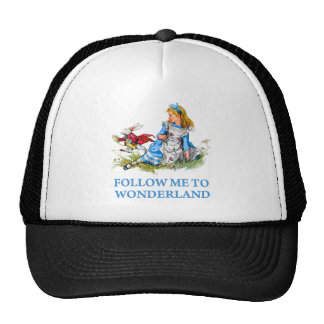 "The Rabbit tells Alice, ""Follow me to Wonderland"" Trucker Hat"