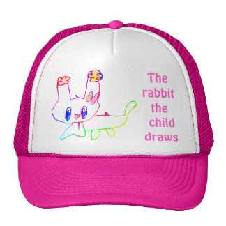 The rabbit the child draws Hat Template