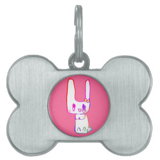 The rabbit the child draws pet ID tag