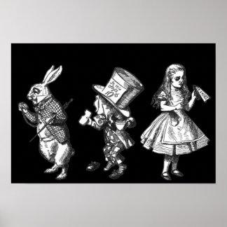 The Rabbit, the Hatter & Alice Wonderland Poster