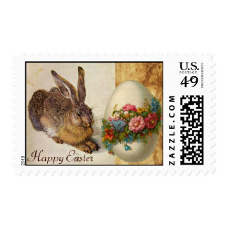 THE RABBIT ( Young Hare ) EASTER EGG WITH FLOWERS Stamp