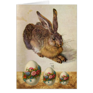 THE RABBIT ( Young Hare ) EASTER EGGS WITH FLOWERS Greeting Card