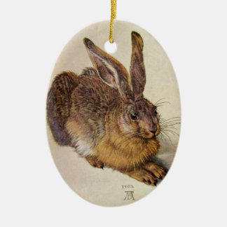 THE RABBIT ( Young Hare ) EASTER EGGS WITH FLOWERS Ceramic Ornament