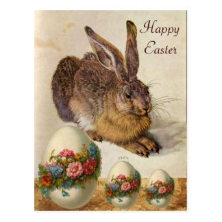 THE RABBIT ( Young Hare ) EASTER EGGS WITH FLOWERS Postcard