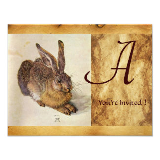 THE RABBIT ( Young Hare ) Monogram 4.25x5.5 Paper Invitation Card
