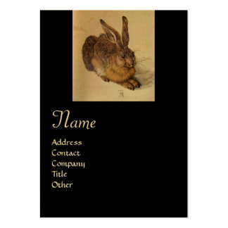 THE RABBIT ( Young Hare ) Monogram ,black and gold Large Business Card