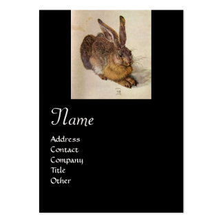 THE RABBIT ( Young Hare ) Monogram ,black pearl Large Business Card