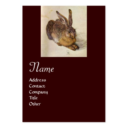 THE RABBIT ( Young Hare ) Monogram Business Card