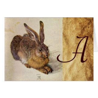 THE RABBIT ( Young Hare ) Monogram Card