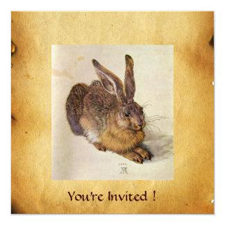 THE RABBIT ( Young Hare ) Monogram 5.25x5.25 Square Paper Invitation Card