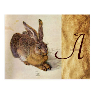 THE RABBIT Young Hare Monogram Post Card