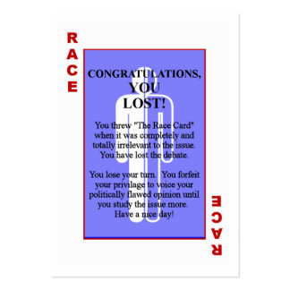 The Race Card Large Business Cards (Pack Of 100)