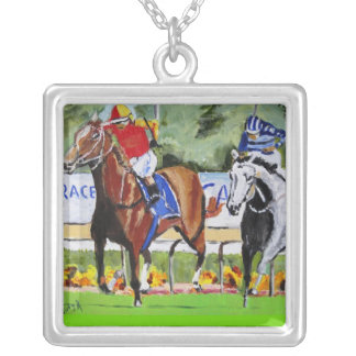 The Race is On Square Pendant Necklace