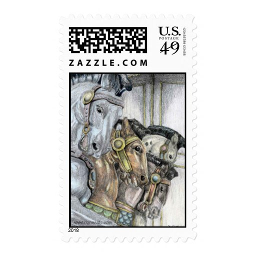 'The Race' Merry-Go-Round US Postage Stamp