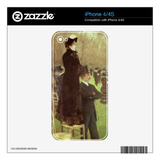 The Races at Auteuil, Paris (oil on canvas) iPhone 4 Skin