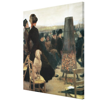 The Races at Auteuil, part of a triptych (oil on c Stretched Canvas Print