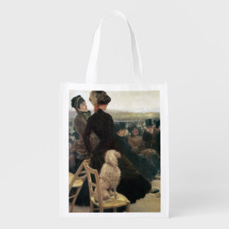 The Races at Auteuil, part of a triptych (oil on c Reusable Grocery Bag